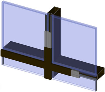 SK2 Curtain Wall System 3D CAD Drawing Cross Section